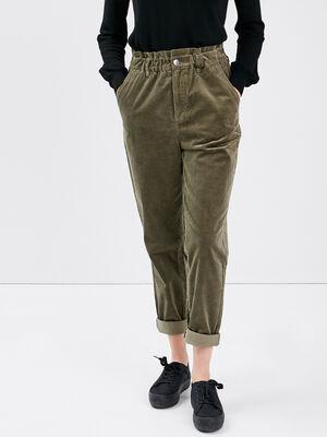 Pantalon boyfriend velours vert kaki femme