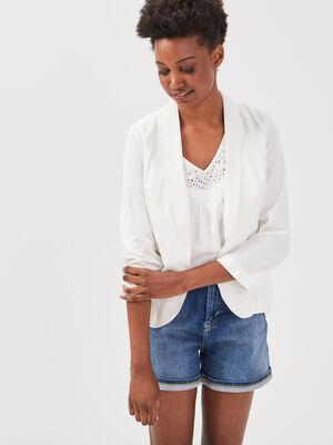 Veste blazer cintree col chale blanc femme
