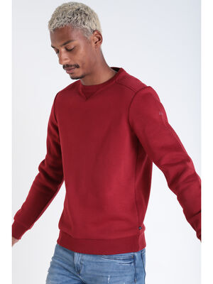 Sweat manches longues col rond rouge fonce homme