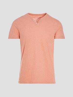 T shirt eco responsable rose poudree homme