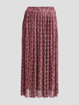 Jupe longue evasee plissee vieux rose femme