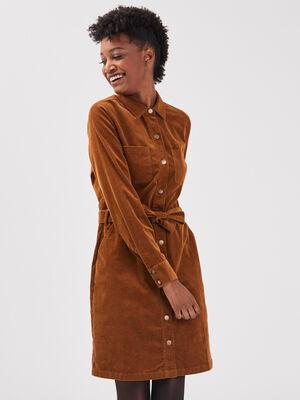 Robe droite effet velours marron femme
