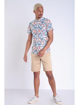 Bermuda droit a ourlets beige homme