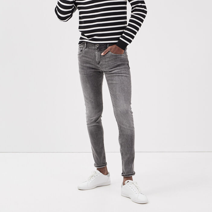 Jeans skinny effet used denim gris homme