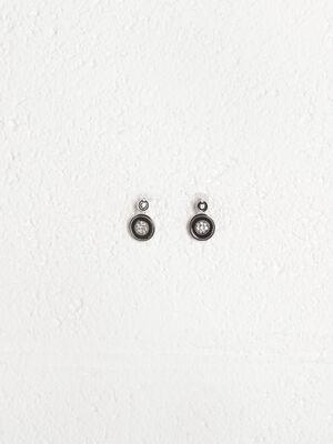 Boucles oreilles metal verre noir femme