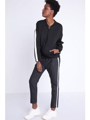 Pantalon city elastique gris fonce femme