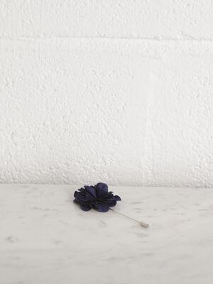 Broche fleur pour boutonniere bleu fonce homme