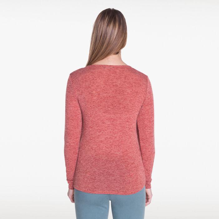 T-shirt façon 2 en 1 orange foncé femme