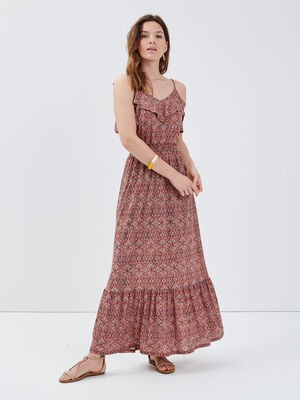 Robe longue evasee a bretelles terracotta femme