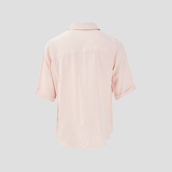 Chemise manches courtes rose poudrée femme