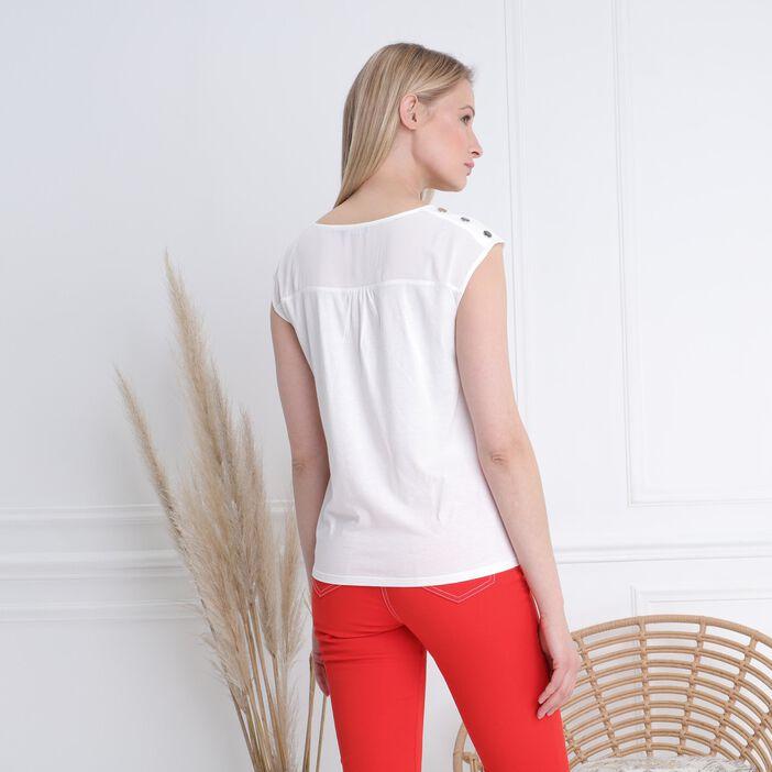 T-shirt manches courtes voile ecru femme