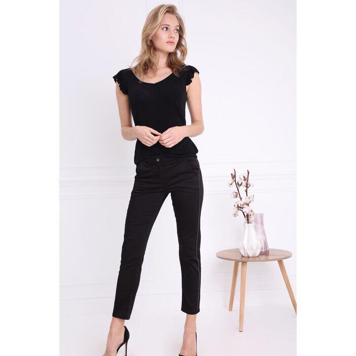 Pantalon taille haute chaînes noir femme