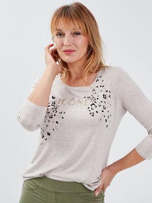 T shirt manches 34 beige femme
