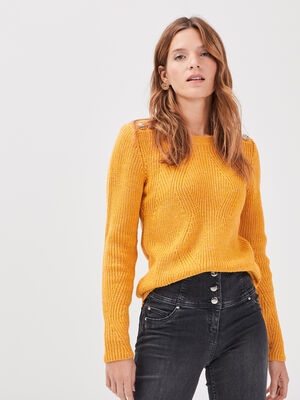 Pull fantaisie a epaules boutonnees jaune or femme