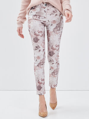 Pantalon leger imprime ecru femme