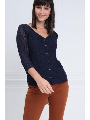 T shirt manches 34 dentelle bleu marine femme