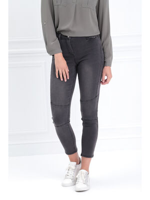 Pantalon ajuste zippe noir femme