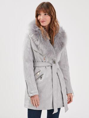 Manteau col fourrure gris fonce femme