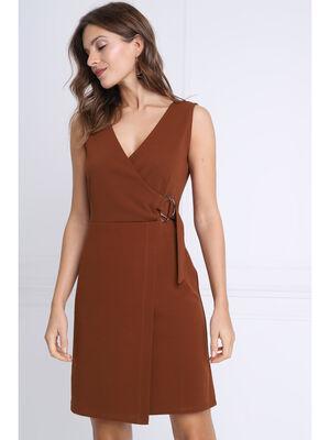 Robe droite detail boucle marron femme