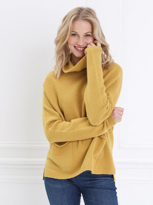 Pull manches longues col roule jaune femme