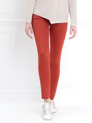 Pantalon enduit ajuste 3 boutons orange fonce femme