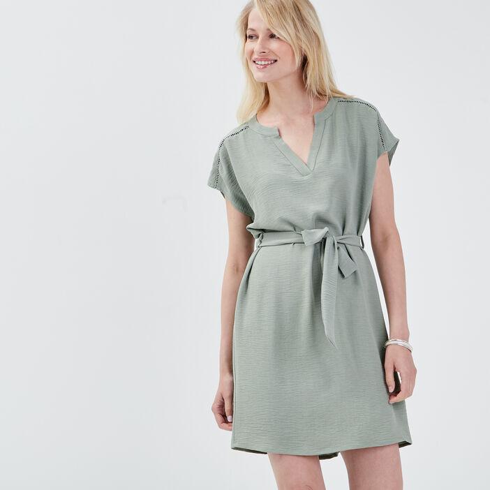 Robe droite ceinturée vert clair femme