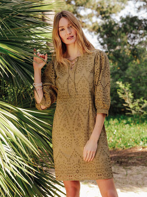 Robe droite broderie anglaise vert olive femme