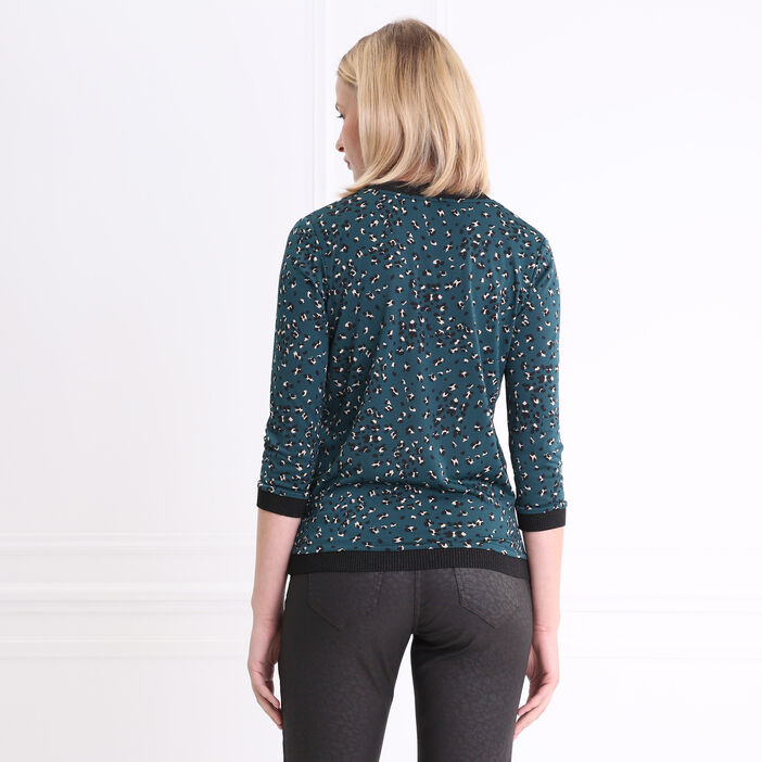 T-shirt col V imprimé avec bord-côte vert femme