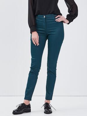 Pantalon ajuste details bijoux vert canard femme