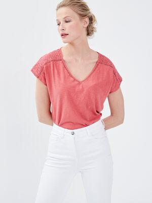 T shirt manches courtes vieux rose femme