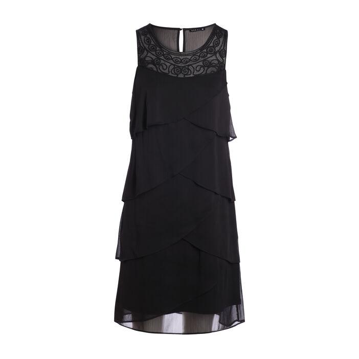 Robe courte fluide avec plastron noir femme