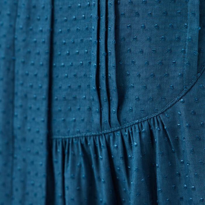 Blouse manches longues bleu pétrole femme