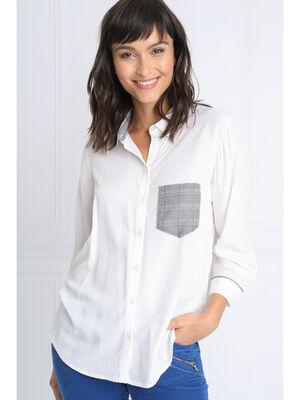 Chemise manches 34 a poche blanc femme