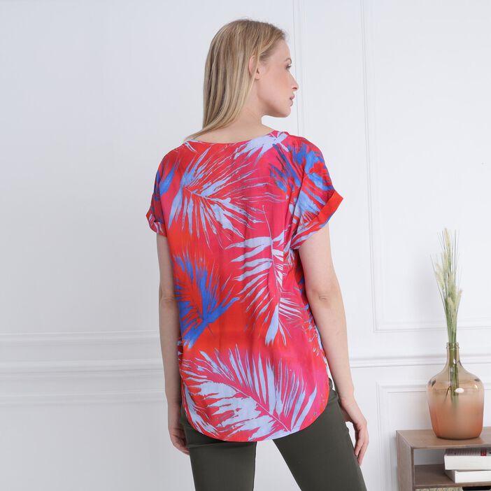 T-shirt manches courtes drapé rouge femme