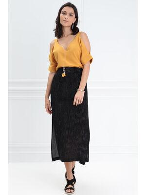 Jupe longue droite noir femme