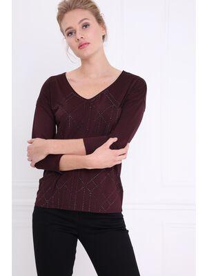 T shirt manches 34 strasse prune femme