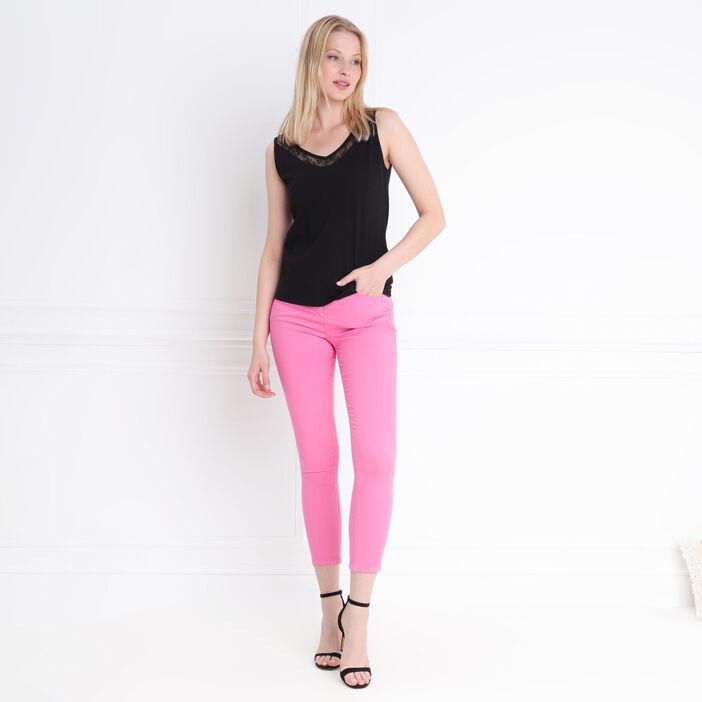 MyShoeStore Lot de 2 pantalons pour femme avec jambes droites finement doux et nervur/és extensibles /à enfiler pour femme