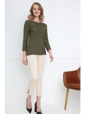 Pantalon ajuste taille basculee sable femme