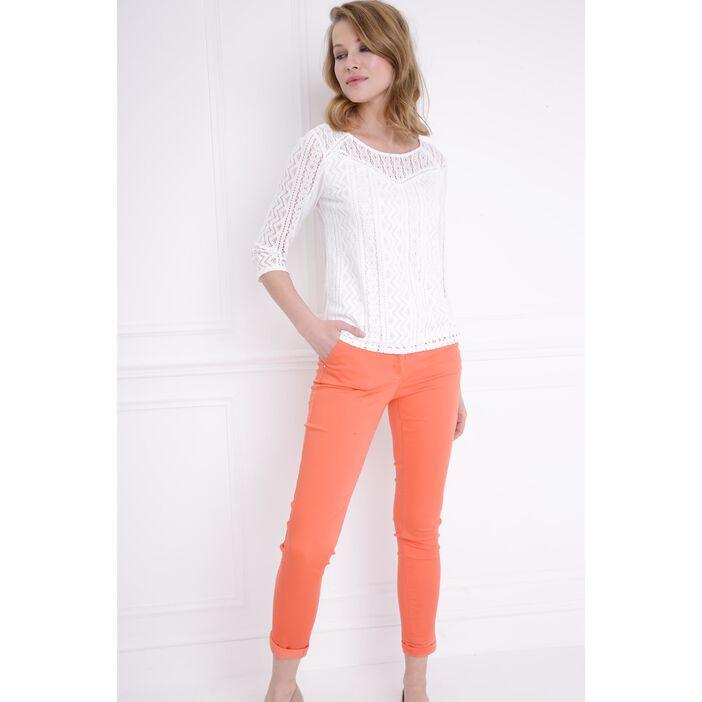 Pantalon taille basculée orange corail femme