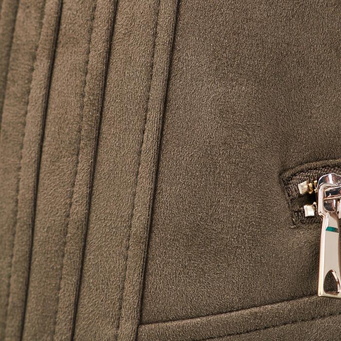 Veste cintrée zippée vert kaki femme