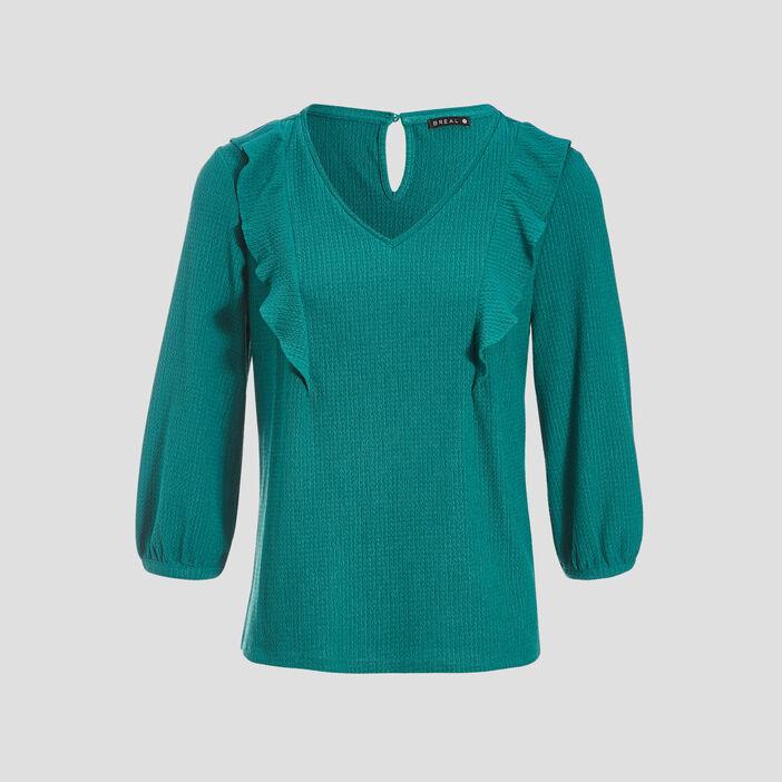 T-shirt manches 3/4 vert émeraude femme