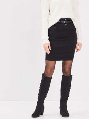 Jupe ajustee ceinture foulard noir femme