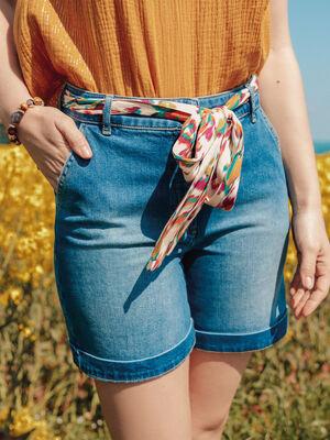 Short droit ceinture en jean denim double stone femme