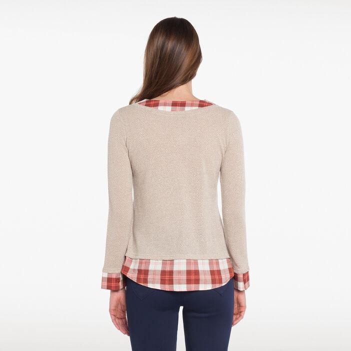 T-shirt 2en1 beige femme