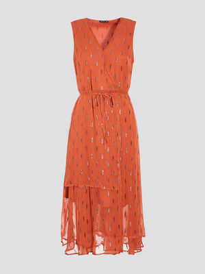 Robe midi evasee orange fonce femme