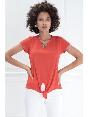 T shirt manches courtes noue rouge femme