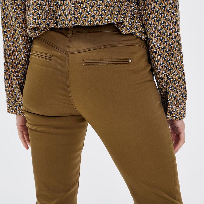 Pantalon chino ajusté vert kaki femme