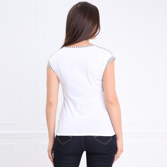 T-shirt col rond message blanc femme