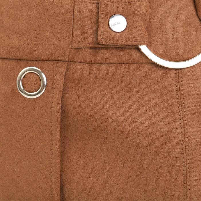 Jupe droite effet suédine avec boutons marron clair femme