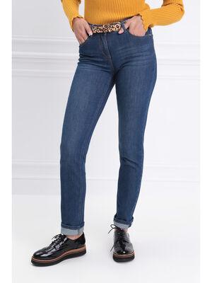 Jeans ajuste taille basculee denim stone femme